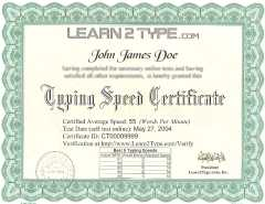 Professionally Printed Typing Certificate